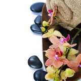 Spa composition with beautiful orchid Royalty Free Stock Photos