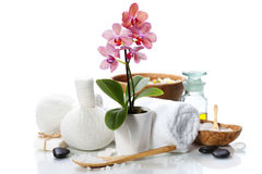 Spa composition with beautiful pink orchid Royalty Free Stock Photography