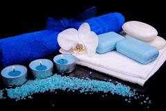 Spa composition in blue Royalty Free Stock Photo