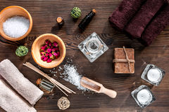 Spa composition for body care with salt on wooden background top view Royalty Free Stock Photography