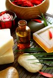 Spa composition of bottle, soap, stones and flower Stock Image
