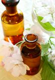 Spa composition of bottles and flowers Royalty Free Stock Photography