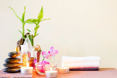 Spa composition with candle, pebbles and aroma oil. Stock Image
