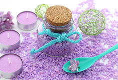 Spa composition of candles, bottle and flowers lilac Stock Images