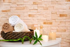 Spa composition with candles Royalty Free Stock Images