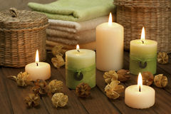 Spa composition with colorful candles stock photos