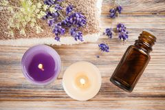 Spa composition with essential oil and towels Royalty Free Stock Image