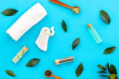 Spa composition with essential tea tree oil. Fresh tea tree leaves, natural cosmetics, towel on blue background top view royalty free stock images