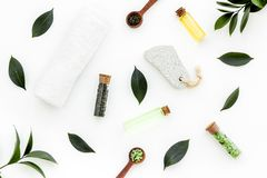 Spa composition with essential tea tree oil. Fresh tea tree leaves, natural cosmetics, towel on white background top. View stock images