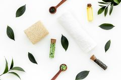 Spa composition with essential tea tree oil. Fresh tea tree leaves, natural cosmetics, towel on white background top stock photo