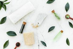 Spa composition with essential tea tree oil. Fresh tea tree leaves, natural cosmetics, towel on white stone background. Spa composition with essential tea tree royalty free stock images