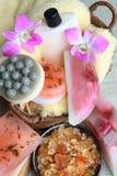 Spa composition: handmade soap, bath salt, moistur Royalty Free Stock Photo