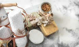 Spa composition with handmade soap stock images