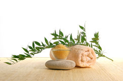 A spa composition of healthy salt and a towel Royalty Free Stock Images