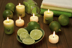 Spa composition with lime  fruit and  sea crystals Royalty Free Stock Photography
