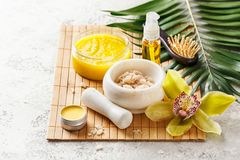 Spa composition with massage oil Stock Image