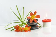Spa composition. Pyramid of black massage stones, orange flowers and burning candle on the white background. Pyramid of black massage stones, orange flowers and stock photography