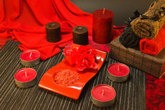 Spa composition in red colors Stock Photos