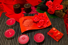 Spa composition in red colors Stock Image