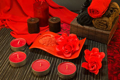 Spa composition in red colors Stock Photo