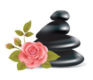 SPA composition with rose. Photo realistic illustration of rose flower and pile of stones vector illustration