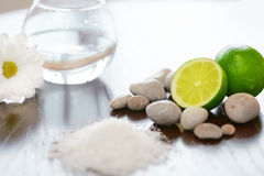 Spa composition. Salt Lime Flower and Stones. Body scrub. Stock Image