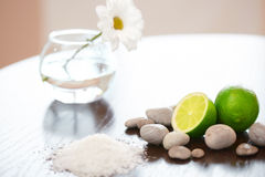 Spa composition. Salt Lime Flower and Stones. Body scrub. Royalty Free Stock Image
