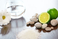 Spa composition. Salt Lime Flower and Stones. Body scrub. Royalty Free Stock Photos
