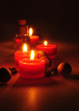 Spa composition. scented candles, coffee beans, aromatic wooden balls Royalty Free Stock Photos