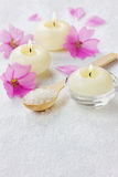 Spa composition with sea salt bath in wooden spoon, pink flowers and burning candles Royalty Free Stock Photos
