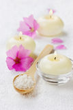 Spa composition with sea salt bath in wooden spoon, pink flowers and burning candles on a white surface Royalty Free Stock Images