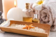 Spa composition with sea salt, closeup royalty free stock images