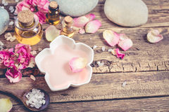 Spa composition with sea salt and massage oil. Royalty Free Stock Photography