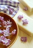 Spa composition of soap and lilac flowers Royalty Free Stock Images