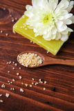 Spa composition with  soap, sea salt and flower Royalty Free Stock Photos
