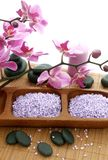 Spa composition of stones, bath salt and orchid. Beautiful spa composition of stones, bath salt and orchid Royalty Free Stock Image
