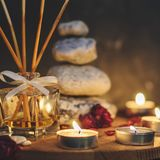 Spa composition-stones, candles, aromatherapy, dry flowers stock photo