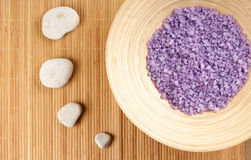 A spa composition of stones and healing salt Royalty Free Stock Photos