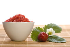 Spa composition with strawberry stock photo