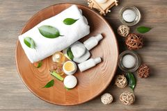 Spa composition with tea tree oil. On wooden background royalty free stock photos