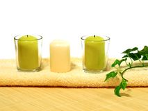 Spa composition of towel and candles Stock Photo