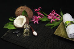 Spa composition. With towel, flowers and coconut oil Stock Images