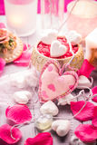 Spa composition Valentines Day heart love body health. Spa composition on the occasion of Valentine's Day: heart, love, body, health stock photo