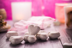 Spa composition Valentines Day heart love body health Royalty Free Stock Image