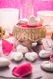 Spa composition Valentines Day heart love body health Royalty Free Stock Photos