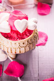 Spa composition Valentines Day heart love body health Royalty Free Stock Photography