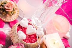 Spa composition Valentines Day heart love body health. Spa composition on the occasion of Valentine's Day: heart, love, body, health royalty free stock images