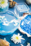 Spa composition water bath salt shells flowers Stock Images