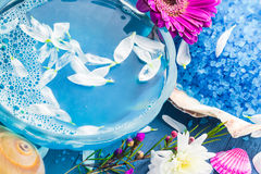 Spa composition water bath salt shells flowers Royalty Free Stock Photo