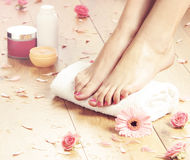Spa compositions of sexy female feet and rose petals Stock Photography